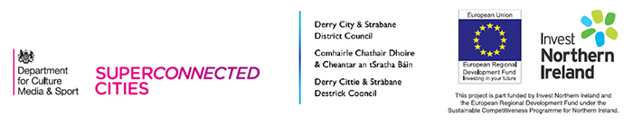 SuperConnected Footer logos - DCMS - Derry City and Strabane District Council - INI